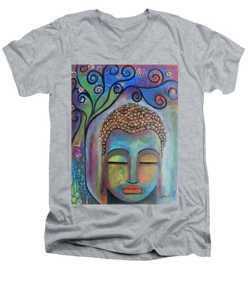 Men's V-Neck T-Shirt featuring the painting Buddha With Tree Of Life by Prerna Poojara