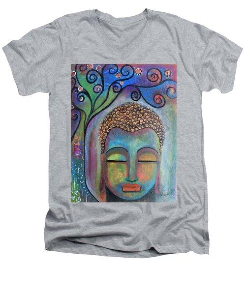 Buddha With Tree Of Life Men's V-Neck T-Shirt