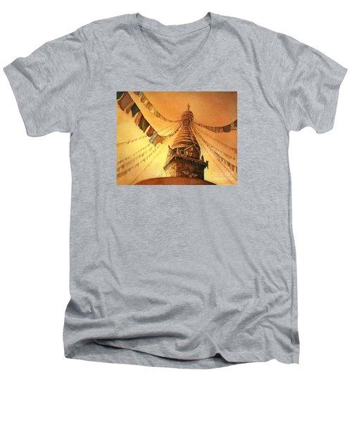 Buddhist Stupa- Nepal Men's V-Neck T-Shirt