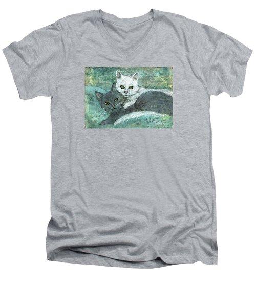 Buddies Men's V-Neck T-Shirt by P J Lewis