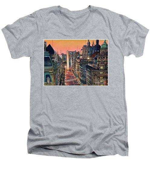 Buenos Aires Twilight Men's V-Neck T-Shirt by Bernardo Galmarini