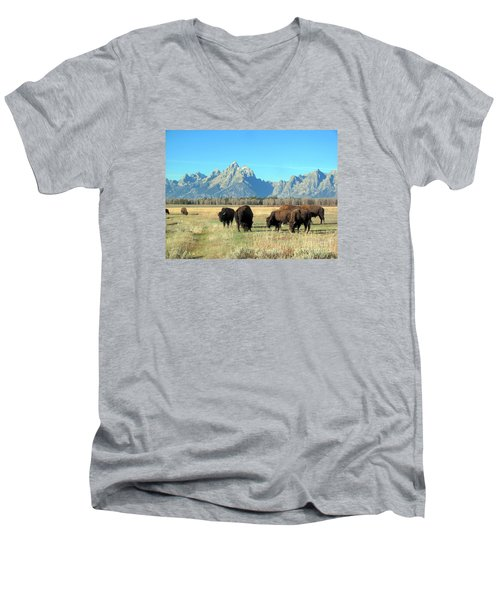 Men's V-Neck T-Shirt featuring the photograph Buffallo  by Irina Hays