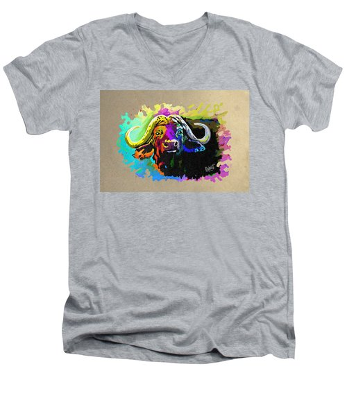 Men's V-Neck T-Shirt featuring the painting Buffalo Boss by Anthony Mwangi