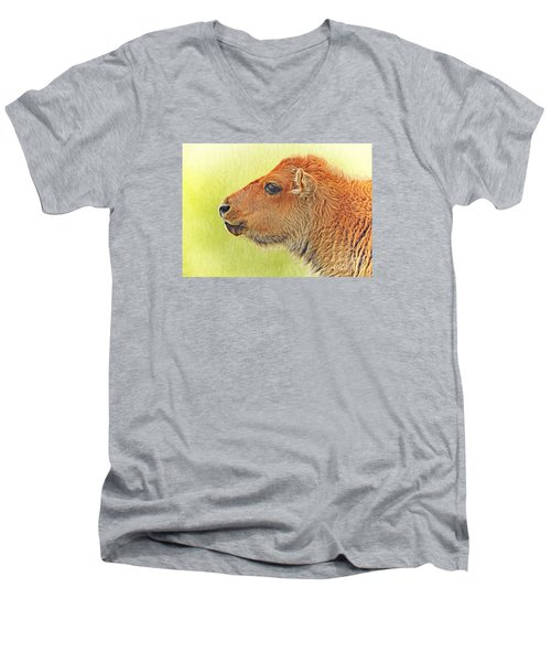 Buffalo Calf Two Men's V-Neck T-Shirt by Suzanne Handel