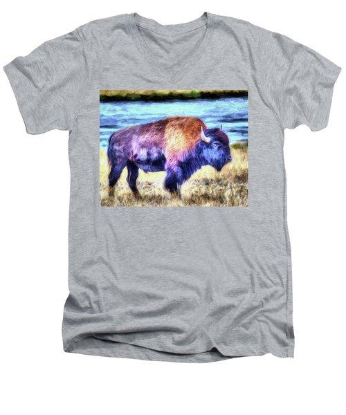 Buffalo Fine Art Print Men's V-Neck T-Shirt