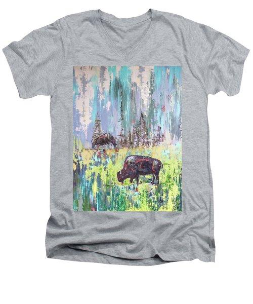Buffalo Grazing Men's V-Neck T-Shirt