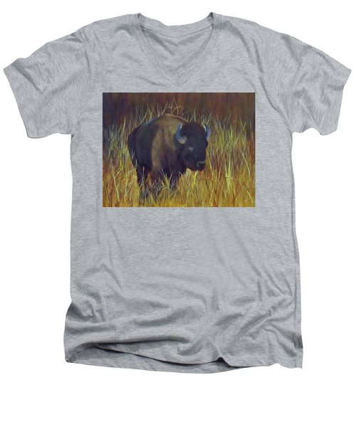 Men's V-Neck T-Shirt featuring the painting Buffalo Grazing by Roseann Gilmore