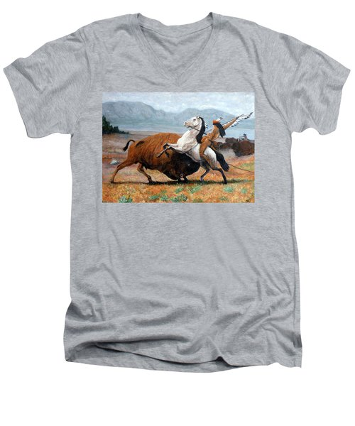 Men's V-Neck T-Shirt featuring the painting Buffalo Hunt by Tom Roderick