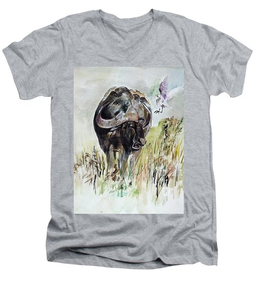 Buffalo Men's V-Neck T-Shirt by Khalid Saeed