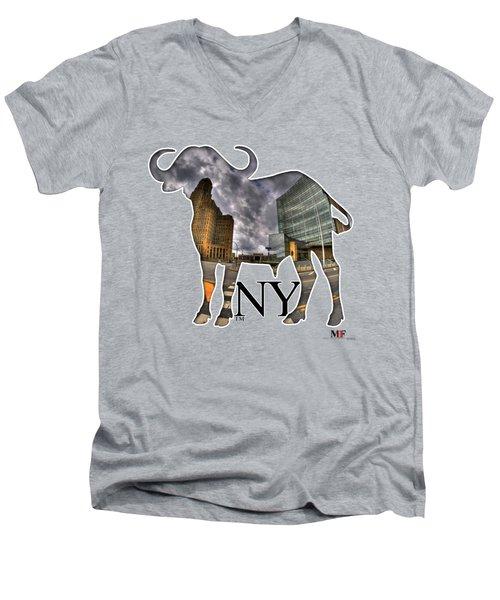 Buffalo Ny City Hall And Court Building Men's V-Neck T-Shirt by Michael Frank Jr