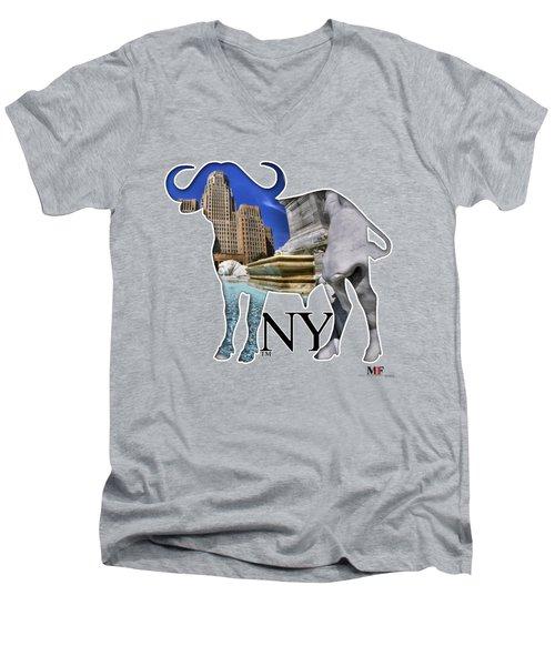 Buffalo Ny City Hall Niagara Square  Men's V-Neck T-Shirt by Michael Frank Jr