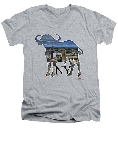 Buffalo Ny Court St Men's V-Neck T-Shirt by Michael Frank Jr