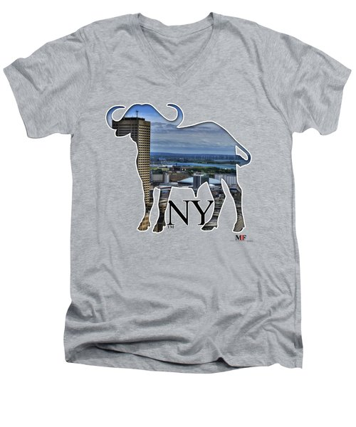 Buffalo Ny Skyway Men's V-Neck T-Shirt by Michael Frank Jr