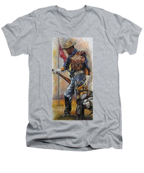 Buffalo Soldier Outfitted Men's V-Neck T-Shirt by Harvie Brown