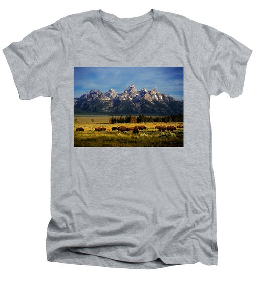 Buffalo Under Tetons Men's V-Neck T-Shirt