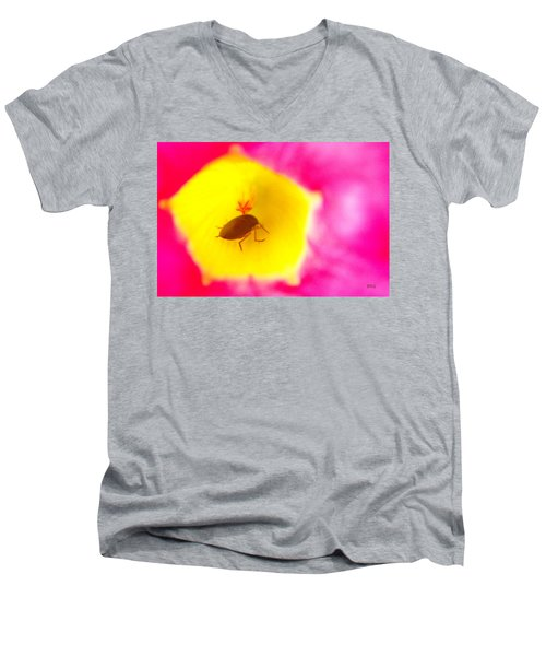 Bug In Pink And Yellow Flower  Men's V-Neck T-Shirt by Ben and Raisa Gertsberg
