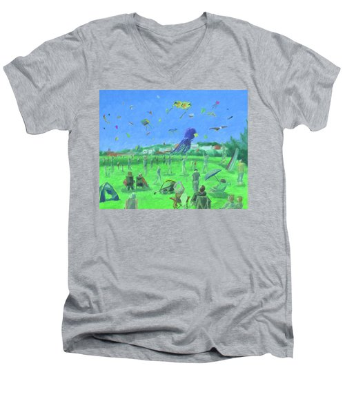 Bug Light Kite Festival Men's V-Neck T-Shirt
