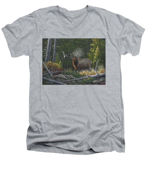 Men's V-Neck T-Shirt featuring the painting Bugling Bull by Kim Lockman