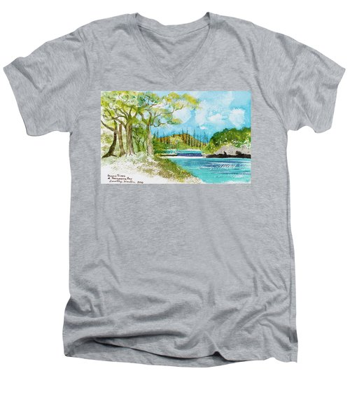 Bugny Trees At Kanumera Bay, Ile Des Pins Men's V-Neck T-Shirt