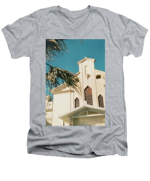 Building Behind Palm Tree In Ostia, Rome Men's V-Neck T-Shirt
