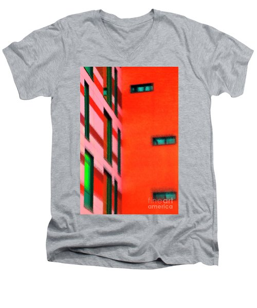 Men's V-Neck T-Shirt featuring the digital art Building Block - Red by Wendy Wilton