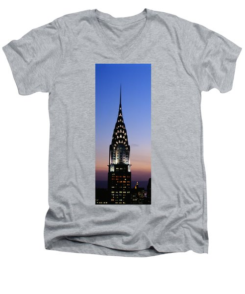 Building Lit Up At Twilight, Chrysler Men's V-Neck T-Shirt by Panoramic Images