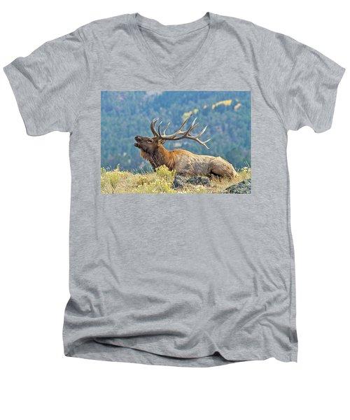Bull Elk Bugling Men's V-Neck T-Shirt