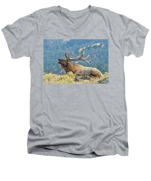 Men's V-Neck T-Shirt featuring the photograph Bull Elk Bugling by Wesley Aston
