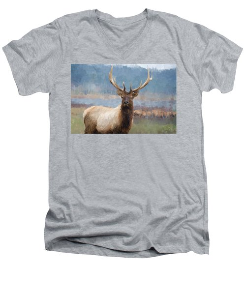 Bull Elk By The River Men's V-Neck T-Shirt by Debra Baldwin