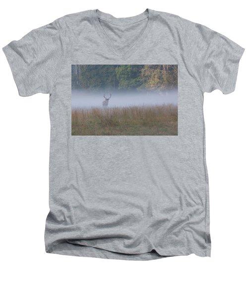 Bull Elk Disappearing In Fog - September 30 2016 Men's V-Neck T-Shirt