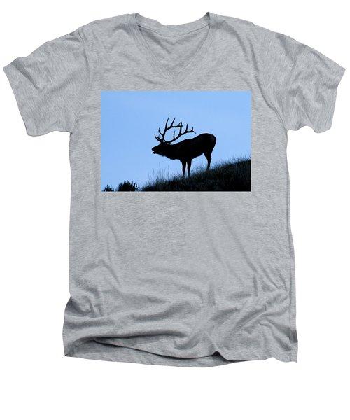 Bull Elk Silhouette Men's V-Neck T-Shirt by Larry Ricker