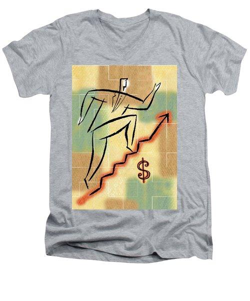 Men's V-Neck T-Shirt featuring the painting Bull Market by Leon Zernitsky