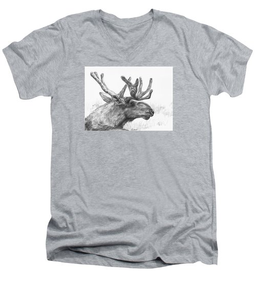Men's V-Neck T-Shirt featuring the drawing Bull Moose Study by Meagan  Visser