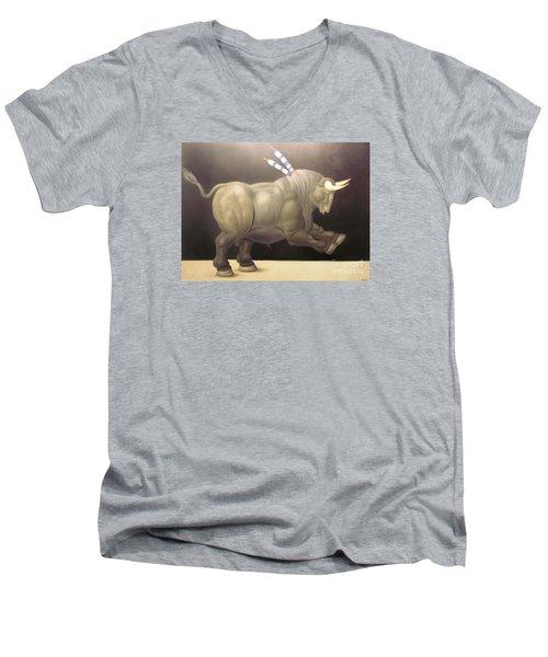 bull painting Botero Men's V-Neck T-Shirt by Ted Pollard