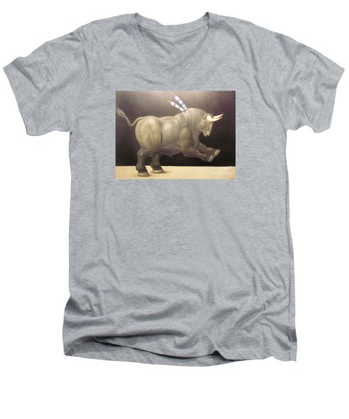 bull painting Botero Men's V-Neck T-Shirt