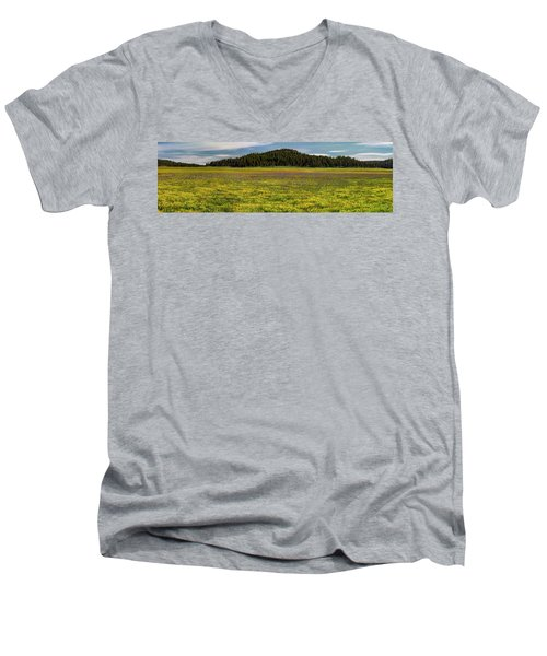 Men's V-Neck T-Shirt featuring the photograph Bull Prairie by Leland D Howard