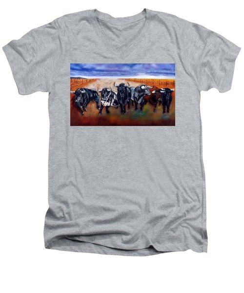 Bull Stampede Men's V-Neck T-Shirt by Manuel Sanchez