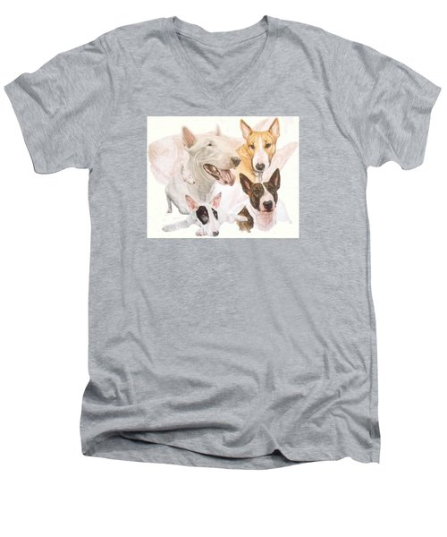 Bull Terrier W/ghost Men's V-Neck T-Shirt