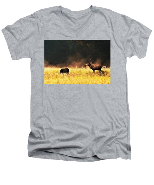 Bull With His Girl Men's V-Neck T-Shirt