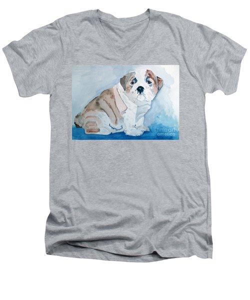 Bulldog Puppy Men's V-Neck T-Shirt by Sandy McIntire