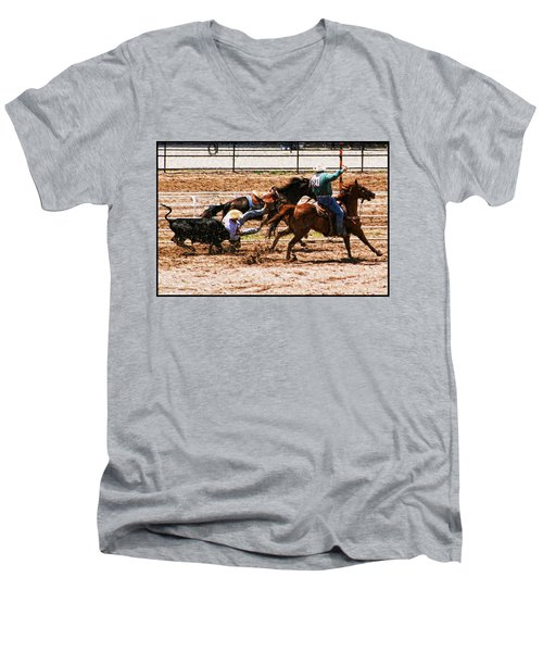 Bulldogging Men's V-Neck T-Shirt by John Freidenberg