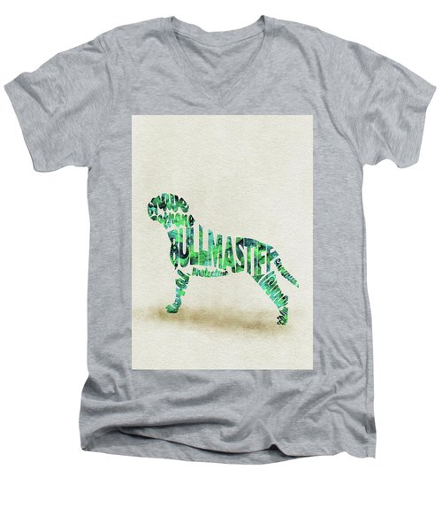 Men's V-Neck T-Shirt featuring the painting Bullmastiff Watercolor Painting / Typographic Art by Ayse and Deniz