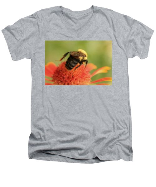 Men's V-Neck T-Shirt featuring the photograph Bumblebee by Chris Berry