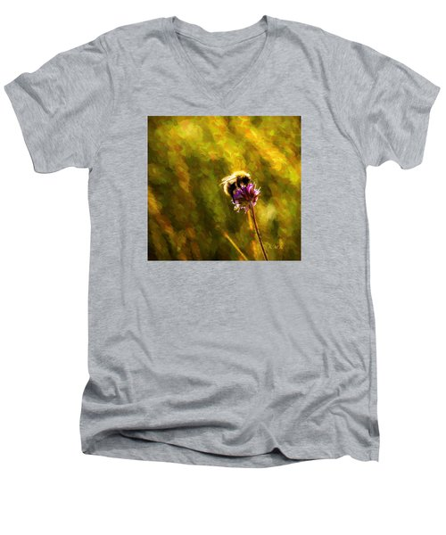 Men's V-Neck T-Shirt featuring the photograph Bumblebee  by Rose-Maries Pictures
