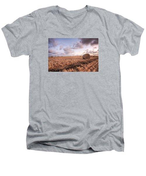 Bundy Hay Bales #2 Men's V-Neck T-Shirt by Brad Grove
