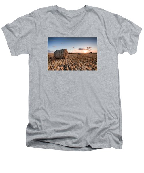 Bundy Hay Bales #5 Men's V-Neck T-Shirt by Brad Grove