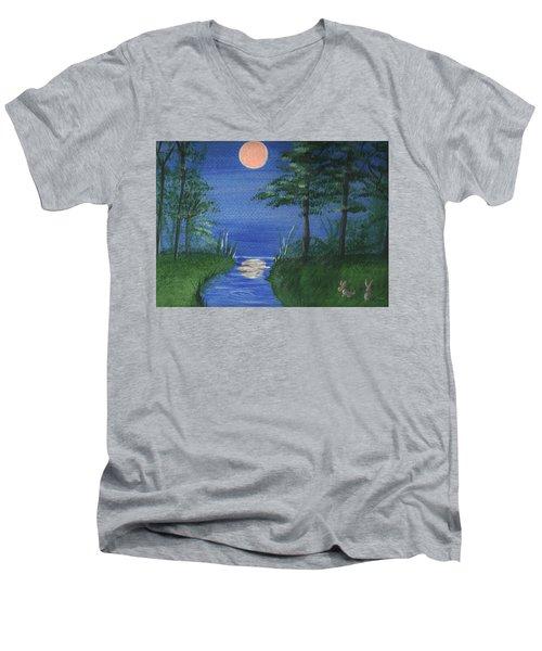 Bunnies In The Garden At Midnight Men's V-Neck T-Shirt
