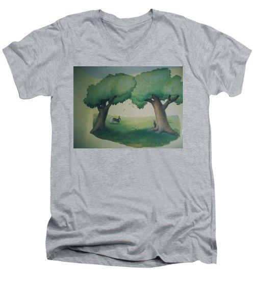 Bunnies Running Under Trees Men's V-Neck T-Shirt