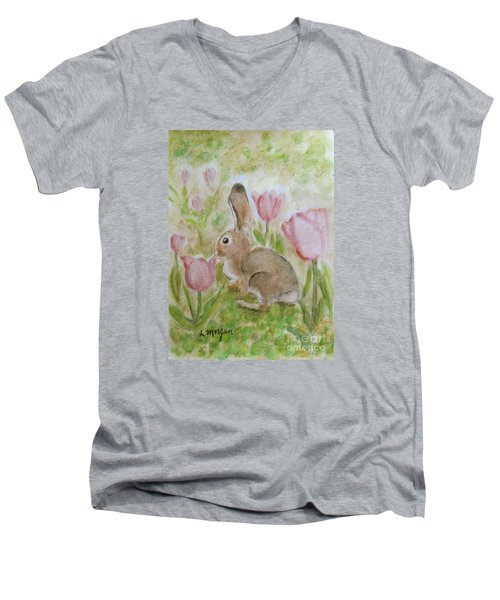 Bunny In The Tulips Men's V-Neck T-Shirt by Laurie Morgan