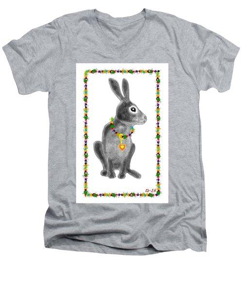 Bunny Post Card Men's V-Neck T-Shirt